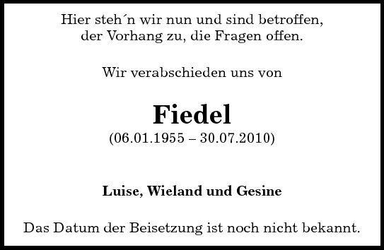 Fiedel (Hans-Jürgen Fiedler): Traueranzeige